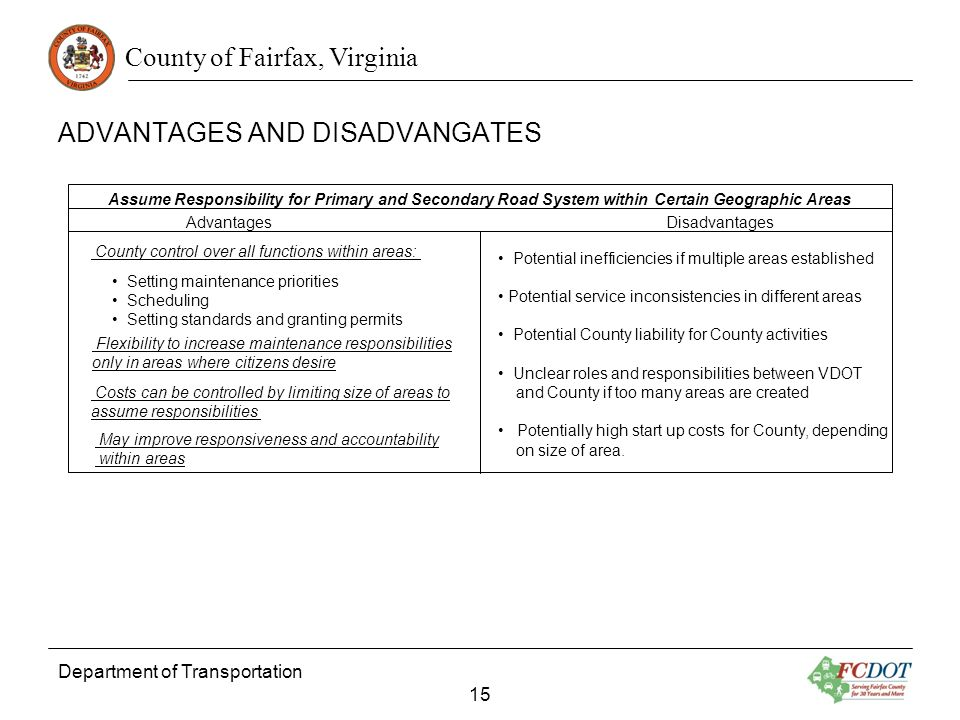 County of Fairfax, Virginia Department of Transportation 15 Advantages Disadvantages Assume Responsibility for Primary and Secondary Road System within Certain Geographic Areas County control over all functions within areas: Setting maintenance priorities Scheduling Setting standards and granting permits Flexibility to increase maintenance responsibilities only in areas where citizens desire Costs can be controlled by limiting size of areas to assume responsibilities May improve responsiveness and accountability within areas Potential inefficiencies if multiple areas established Potential service inconsistencies in different areas Potential County liability for County activities Unclear roles and responsibilities between VDOT and County if too many areas are created Potentially high start up costs for County, depending on size of area.