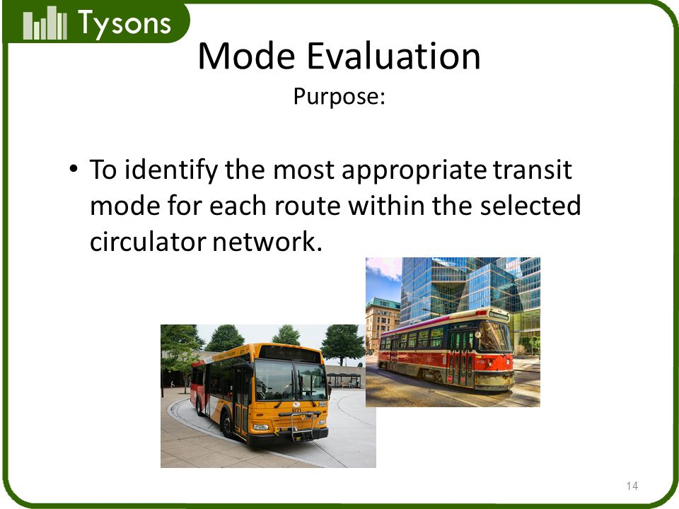 Tysons Mode Evaluation Purpose: 14 To identify the most appropriate transit mode for each route within the selected circulator network.