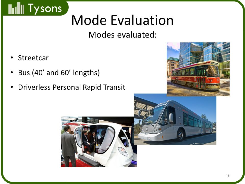 Tysons Mode Evaluation Modes evaluated: 16 Streetcar Bus (40 and 60 lengths) Driverless Personal Rapid Transit
