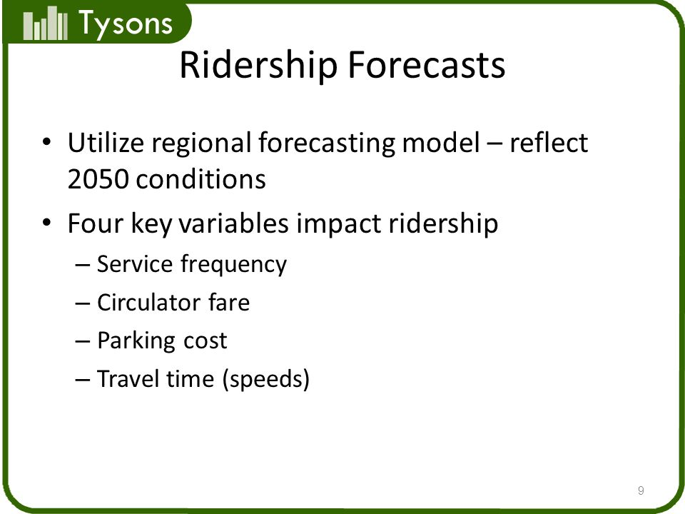 Tysons Ridership Forecasts Utilize regional forecasting model – reflect 2050 conditions Four key variables impact ridership – Service frequency – Circulator fare – Parking cost – Travel time (speeds) 9