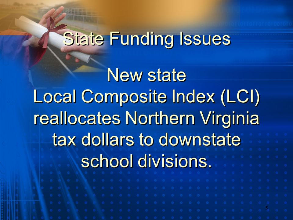 5 New state Local Composite Index (LCI) reallocates Northern Virginia tax dollars to downstate school divisions. State Funding Issues