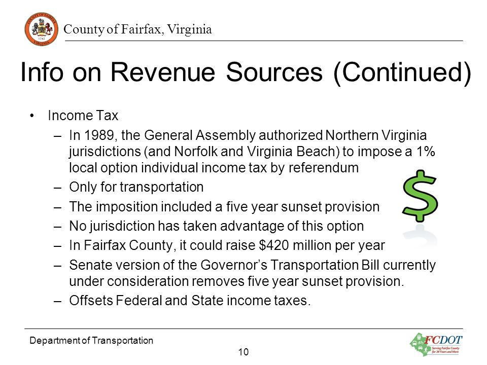 County of Fairfax, Virginia Info on Revenue Sources (Continued) Income Tax –In 1989, the General Assembly authorized Northern Virginia jurisdictions (and Norfolk and Virginia Beach) to impose a 1% local option individual income tax by referendum –Only for transportation –The imposition included a five year sunset provision –No jurisdiction has taken advantage of this option –In Fairfax County, it could raise $420 million per year –Senate version of the Governors Transportation Bill currently under consideration removes five year sunset provision.