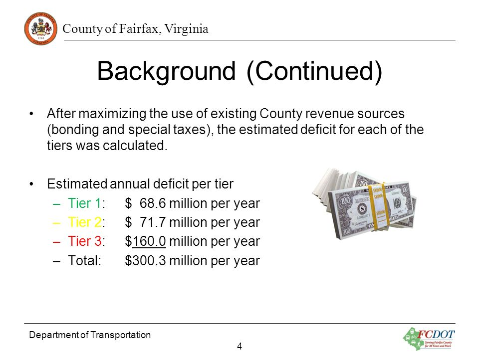 County of Fairfax, Virginia Background (Continued) After maximizing the use of existing County revenue sources (bonding and special taxes), the estimated deficit for each of the tiers was calculated.