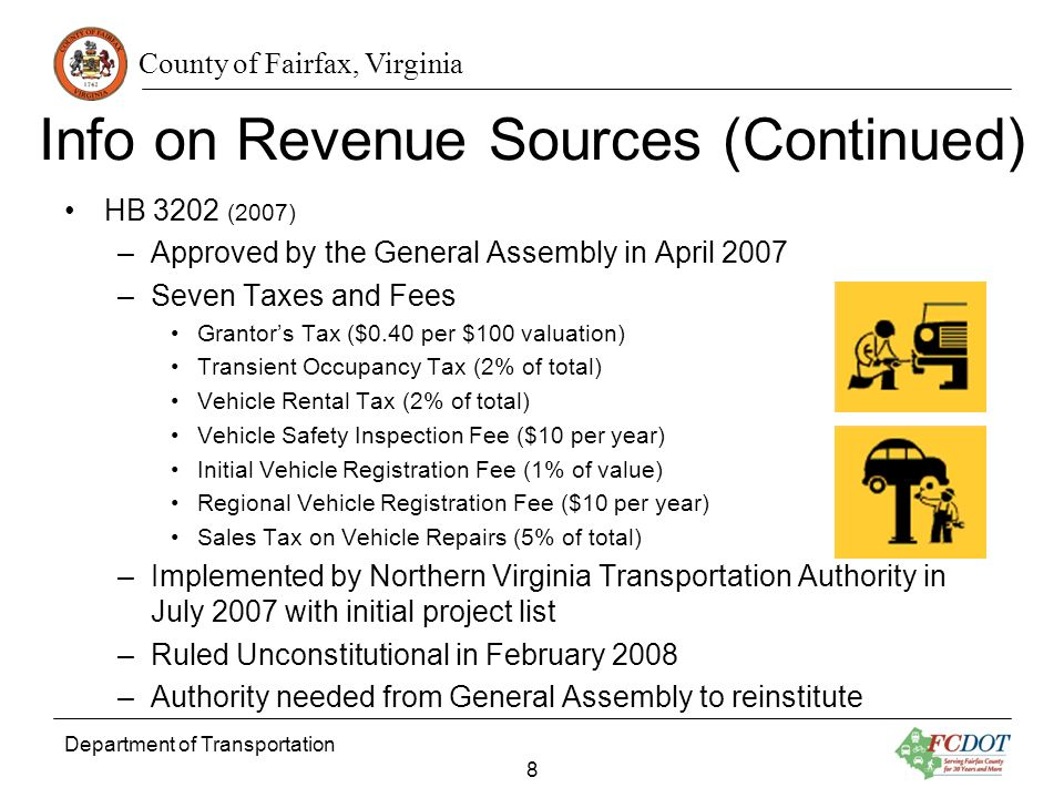 County of Fairfax, Virginia Info on Revenue Sources (Continued) HB 3202 (2007) –Approved by the General Assembly in April 2007 –Seven Taxes and Fees Grantors Tax ($0.40 per $100 valuation) Transient Occupancy Tax (2% of total) Vehicle Rental Tax (2% of total) Vehicle Safety Inspection Fee ($10 per year) Initial Vehicle Registration Fee (1% of value) Regional Vehicle Registration Fee ($10 per year) Sales Tax on Vehicle Repairs (5% of total) –Implemented by Northern Virginia Transportation Authority in July 2007 with initial project list –Ruled Unconstitutional in February 2008 –Authority needed from General Assembly to reinstitute Department of Transportation 8