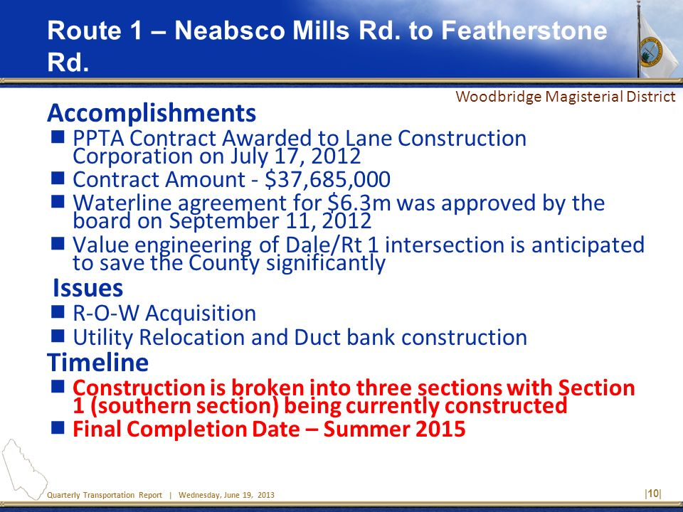 Quarterly Transportation Report | Wednesday, June 19, 2013 |10| Route 1 – Neabsco Mills Rd. to Featherstone Rd. Accomplishments PPTA Contract Awarded