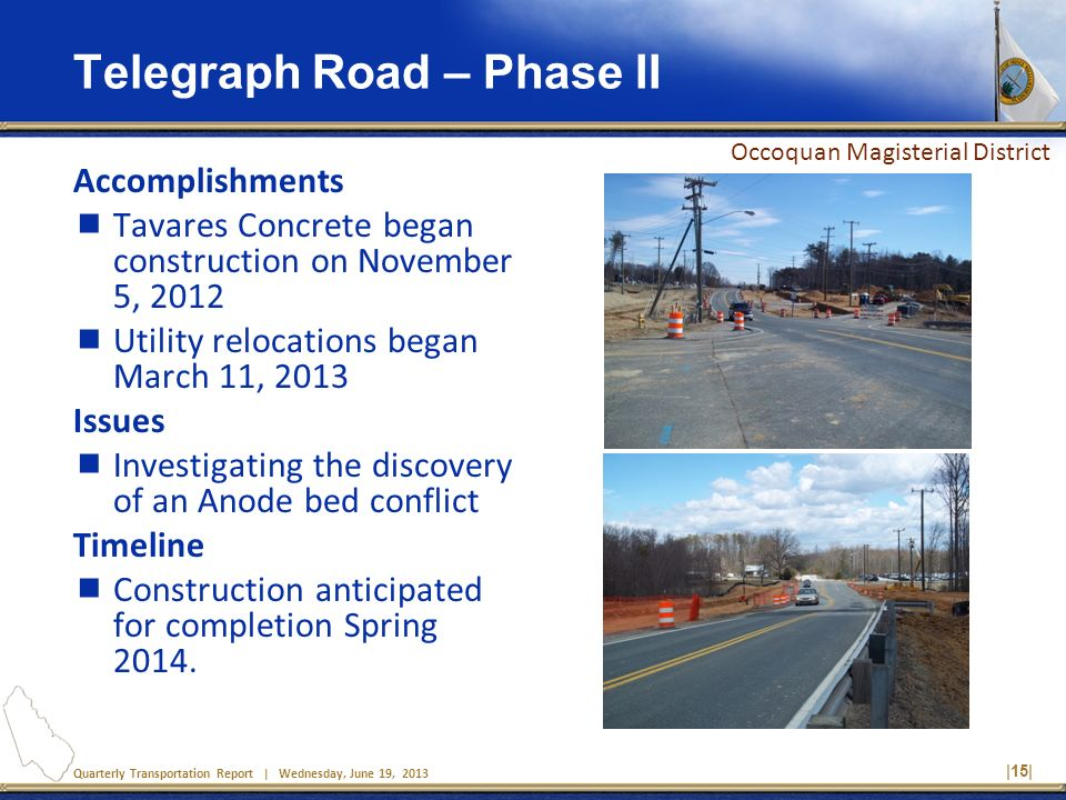 Quarterly Transportation Report | Wednesday, June 19, 2013 Telegraph Road – Phase II Accomplishments Tavares Concrete began construction on November 5