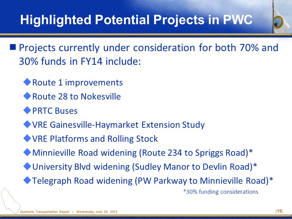 Quarterly Transportation Report | Wednesday, June 19, 2013 Highlighted Potential Projects in PWC Projects currently under consideration for both 70% and 30% funds in FY14 include: Route 1 improvements Route 28 to Nokesville PRTC Buses VRE Gainesville-Haymarket Extension Study VRE Platforms and Rolling Stock Minnieville Road widening (Route 234 to Spriggs Road)* University Blvd widening (Sudley Manor to Devlin Road)* Telegraph Road widening (PW Parkway to Minnieville Road)* *30% funding considerations |19|