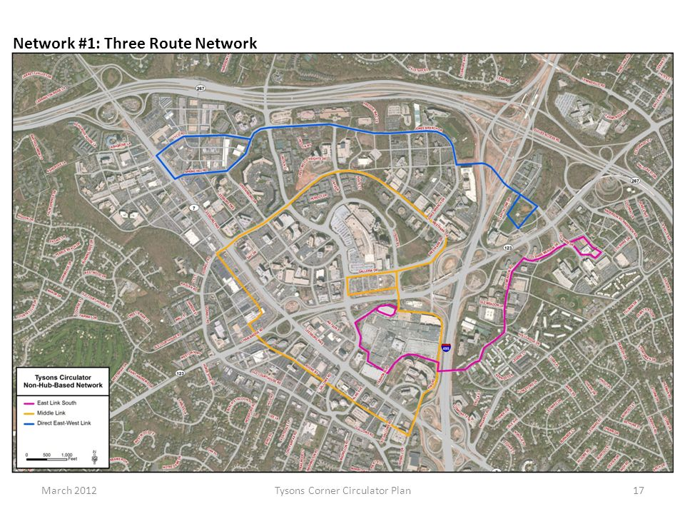 March 2012Tysons Corner Circulator Plan17 Network #1: Three Route Network