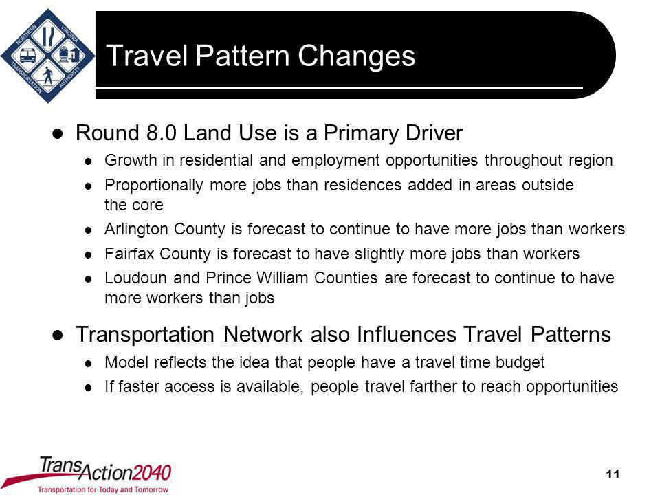 Travel Pattern Changes Round 8.0 Land Use is a Primary Driver Growth in residential and employment opportunities throughout region Proportionally more