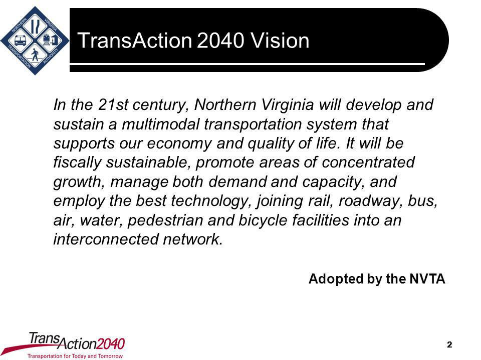 TransAction 2040 Vision 2 In the 21st century, Northern Virginia will develop and sustain a multimodal transportation system that supports our economy
