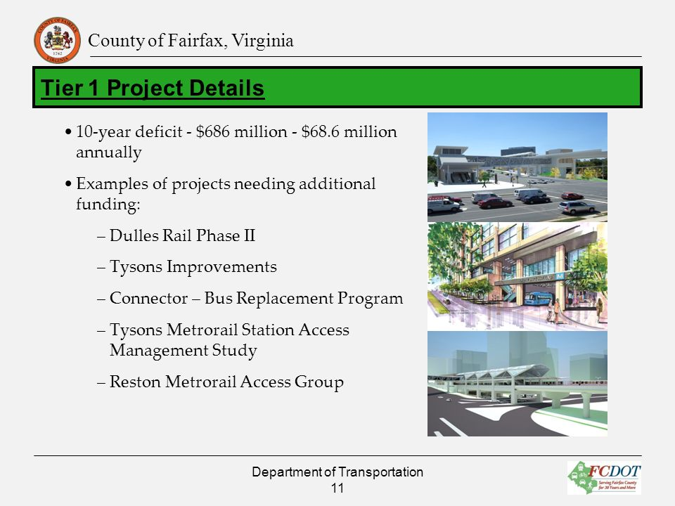 County of Fairfax, Virginia 10-year deficit - $686 million - $68.6 million annually Examples of projects needing additional funding: –Dulles Rail Phase II –Tysons Improvements –Connector – Bus Replacement Program –Tysons Metrorail Station Access Management Study –Reston Metrorail Access Group Department of Transportation 11 Tier 1 Project Details