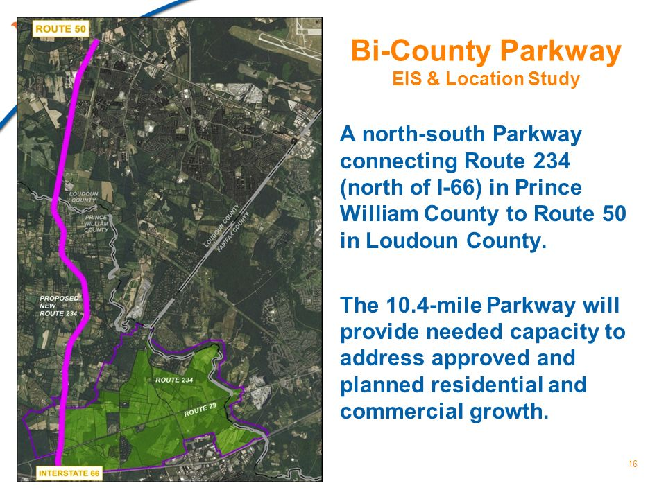 Bi-County Parkway EIS & Location Study A north-south Parkway connecting Route 234 (north of I-66) in Prince William County to Route 50 in Loudoun Coun