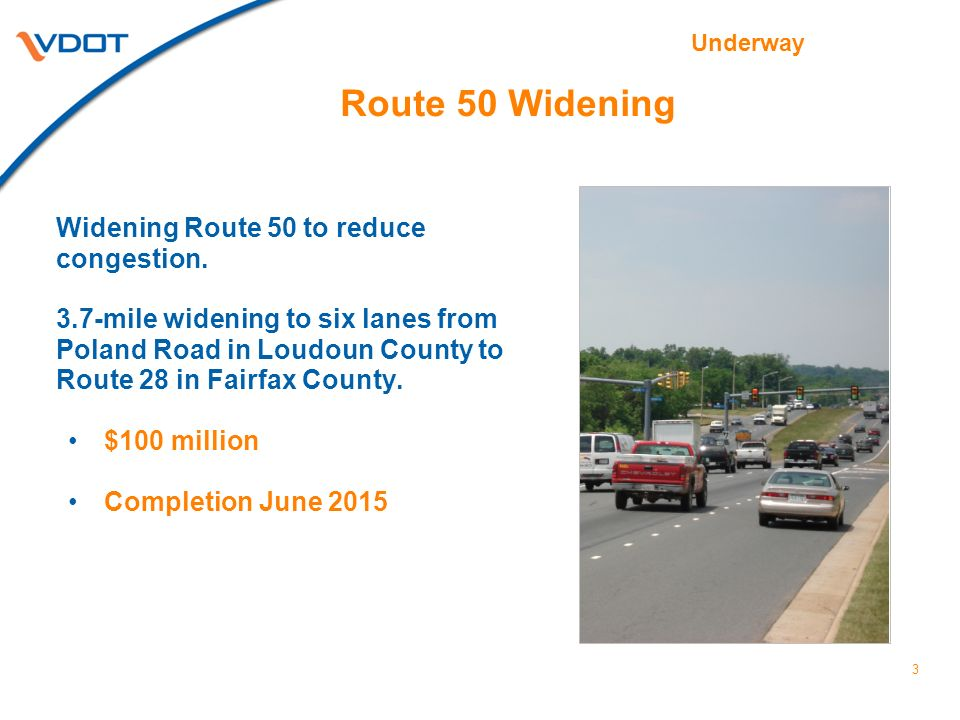 Route 50 Widening Widening Route 50 to reduce congestion. 3.7-mile widening to six lanes from Poland Road in Loudoun County to Route 28 in Fairfax Cou