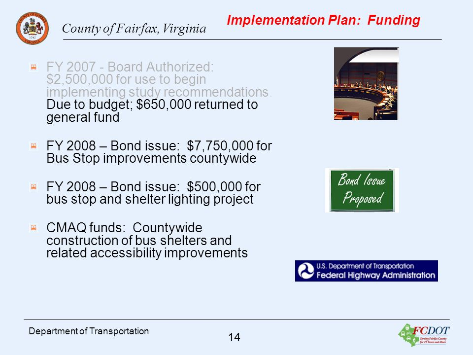 County of Fairfax, Virginia 14 Department of Transportation Implementation Plan: Funding FY Board Authorized: $2,500,000 for use to begin implementing study recommendations.