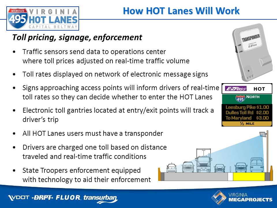 Some things cant wait for traffic Toll pricing, signage, enforcement Traffic sensors send data to operations center where toll prices adjusted on real-time traffic volume Toll rates displayed on network of electronic message signs Signs approaching access points will inform drivers of real-time toll rates so they can decide whether to enter the HOT Lanes How HOT Lanes Will Work Electronic toll gantries located at entry/exit points will track a drivers trip All HOT Lanes users must have a transponder Drivers are charged one toll based on distance traveled and real-time traffic conditions State Troopers enforcement equipped with technology to aid their enforcement