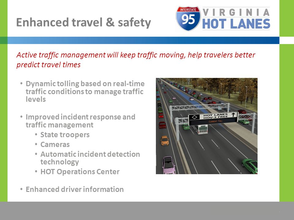 The Title Would be Placed Here Enhanced travel & safety Dynamic tolling based on real-time traffic conditions to manage traffic levels Improved incide