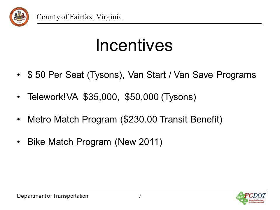 County of Fairfax, Virginia Department of Transportation7 $ 50 Per Seat (Tysons), Van Start / Van Save Programs Telework!VA $35,000, $50,000 (Tysons)