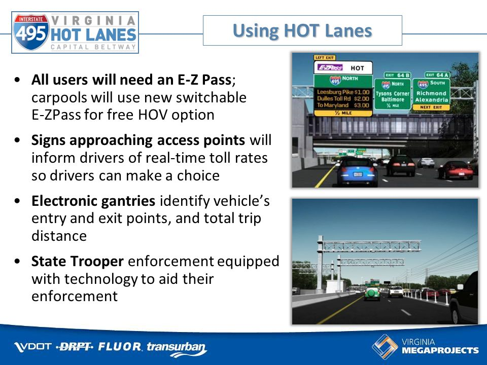 All users will need an E-Z Pass; carpools will use new switchable E-ZPass for free HOV option Signs approaching access points will inform drivers of real-time toll rates so drivers can make a choice Electronic gantries identify vehicles entry and exit points, and total trip distance State Trooper enforcement equipped with technology to aid their enforcement Using HOT Lanes