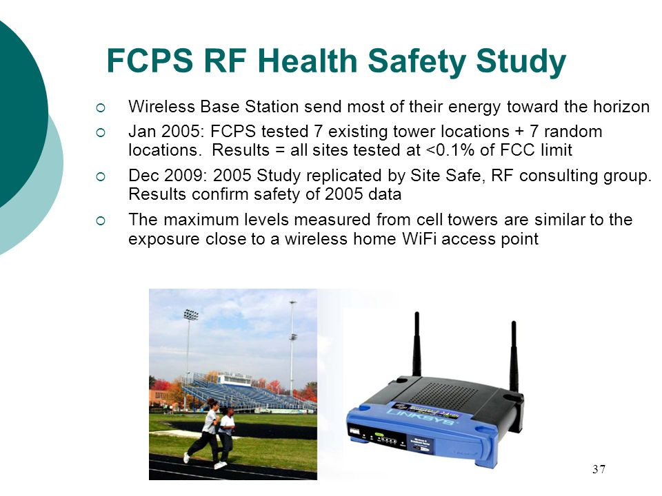 37 Wireless Base Station send most of their energy toward the horizon Jan 2005: FCPS tested 7 existing tower locations + 7 random locations.