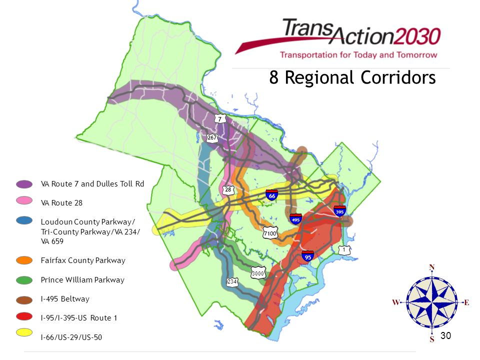 30 VA Route 7 and Dulles Toll Rd VA Route 28 Loudoun County Parkway/ Tri-County Parkway/VA 234/ VA 659 Fairfax County Parkway Prince William Parkway I
