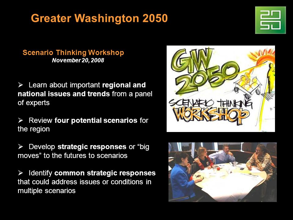 Greater Washington 2050 Scenario Thinking Workshop November 20, 2008 Learn about important regional and national issues and trends from a panel of experts Review four potential scenarios for the region Develop strategic responses or big moves to the futures to scenarios Identify common strategic responses that could address issues or conditions in multiple scenarios