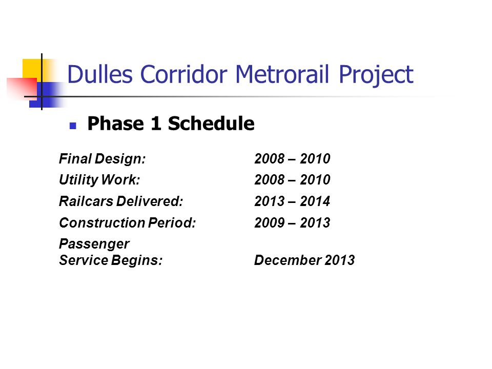 Dulles Corridor Metrorail Project Phase 1 Schedule Final Design:2008 – 2010 Utility Work:2008 – 2010 Railcars Delivered:2013 – 2014 Construction Period:2009 – 2013 Passenger Service Begins:December 2013