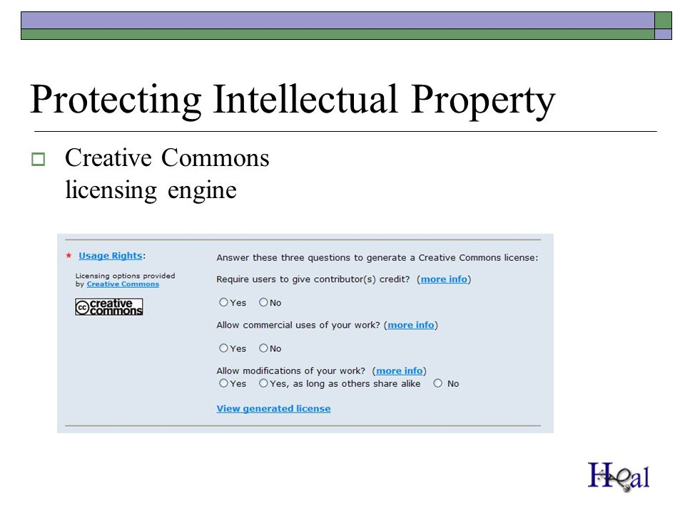 Protecting Intellectual Property Creative Commons licensing engine