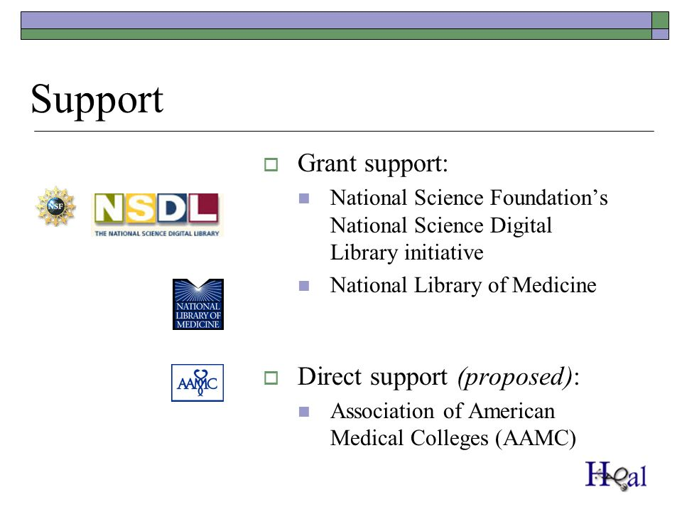 Support Grant support: National Science Foundations National Science Digital Library initiative National Library of Medicine Direct support (proposed): Association of American Medical Colleges (AAMC)