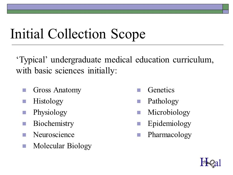Initial Collection Scope Gross Anatomy Histology Physiology Biochemistry Neuroscience Molecular Biology Genetics Pathology Microbiology Epidemiology Pharmacology Typical undergraduate medical education curriculum, with basic sciences initially: