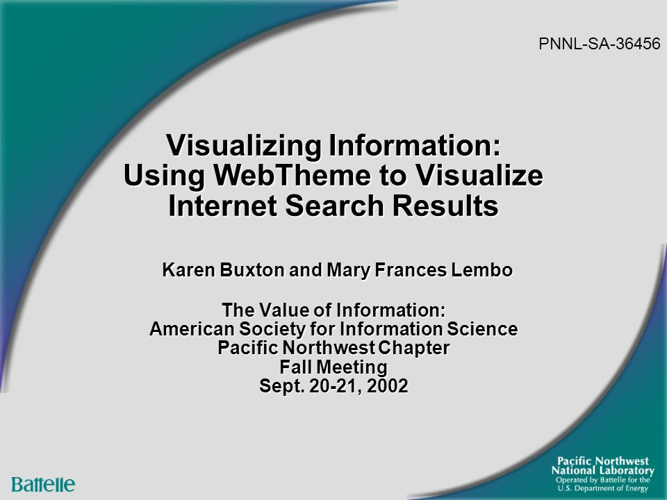 2 Presentation Overview Brief Overview of Information Visualization Introduction to WebTheme Preparing a WebTheme Query Exploring a Dataset Question & Answer