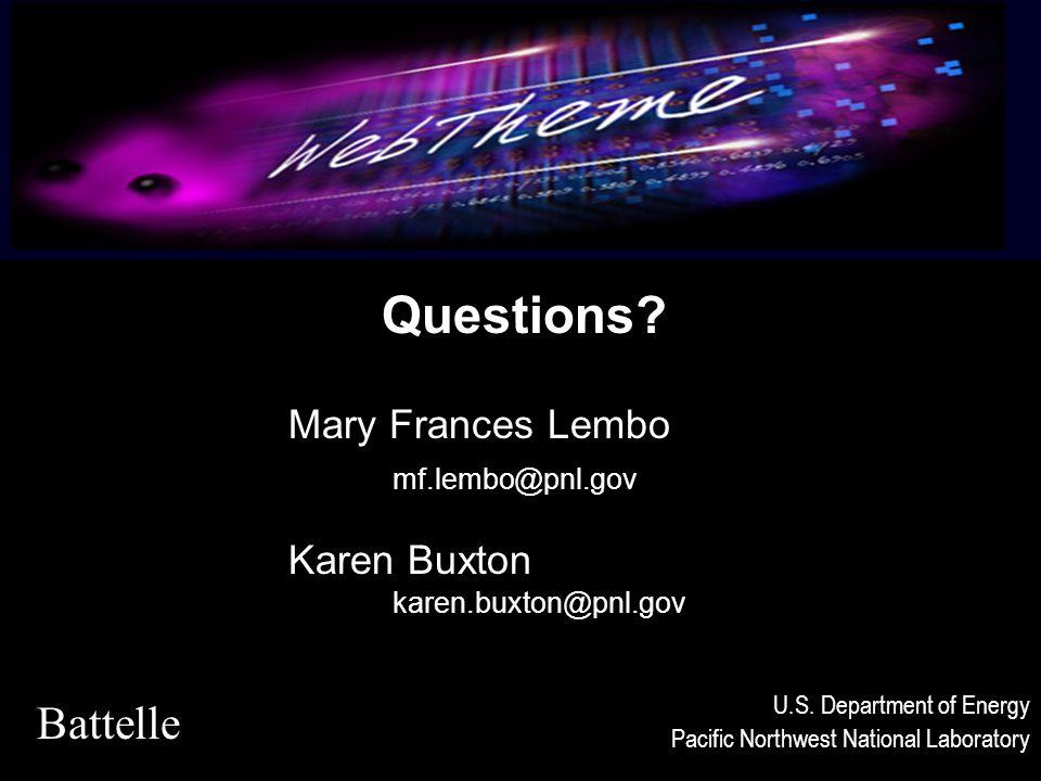 Questions. Mary Frances Lembo mf.lembo@pnl.gov Karen Buxton karen.buxton@pnl.gov Battelle U.S.