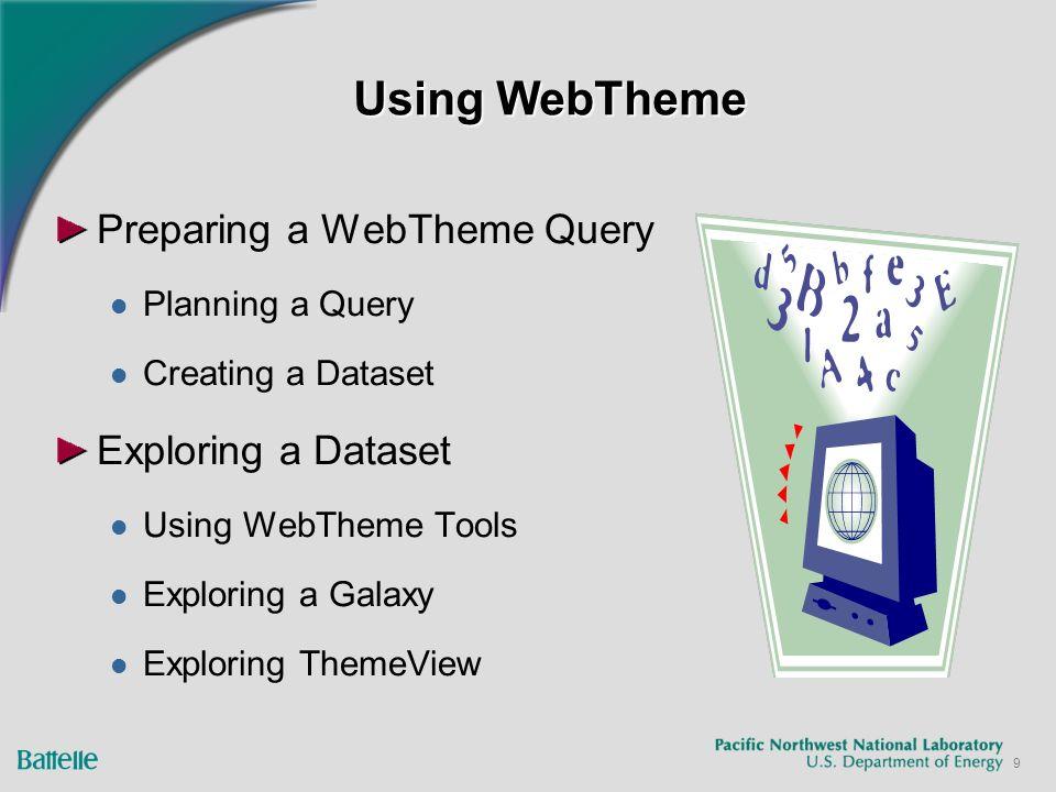 9 Using WebTheme Preparing a WebTheme Query Planning a Query Creating a Dataset Exploring a Dataset Using WebTheme Tools Exploring a Galaxy Exploring ThemeView