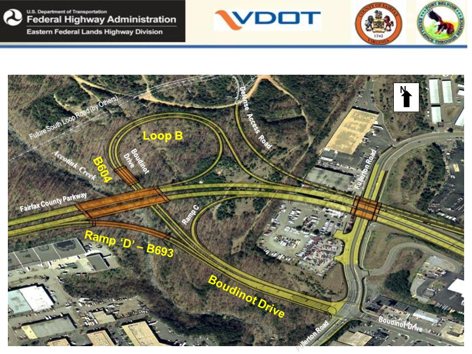Fullerton Road Ramp C Fairfax County Parkway Defense Access Road Boudinot Drive Fullerton Road N Future South Loop Road (by Others) Boudinot Drive Accotink Creek Fairfax County Parkway -Phase IV Loop B Boudinot Drive Ramp D – B693 B604