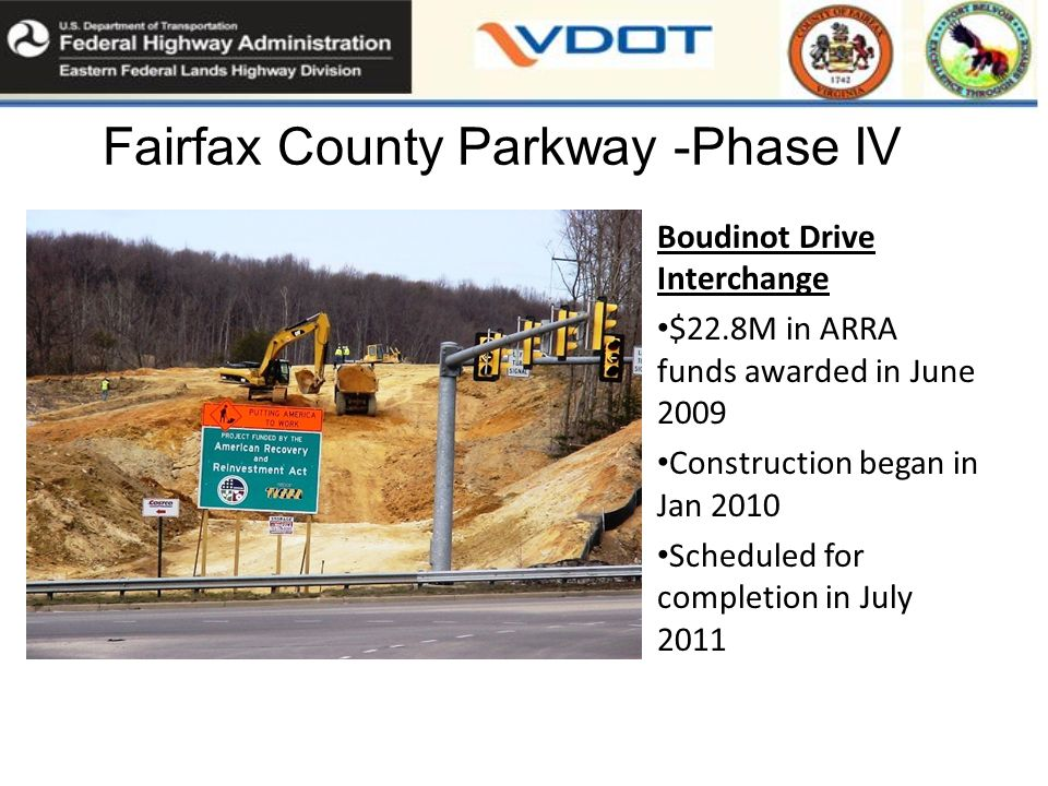 Fairfax County Parkway -Phase IV Boudinot Drive Interchange $22.8M in ARRA funds awarded in June 2009 Construction began in Jan 2010 Scheduled for completion in July 2011