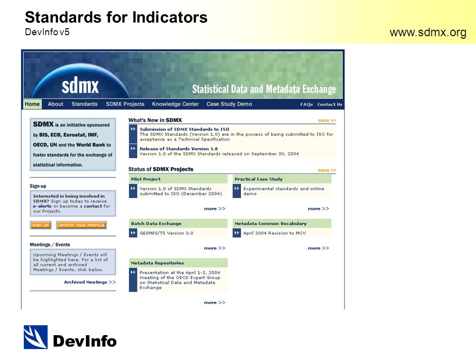 DevInfo   Standards for Indicators DevInfo v5