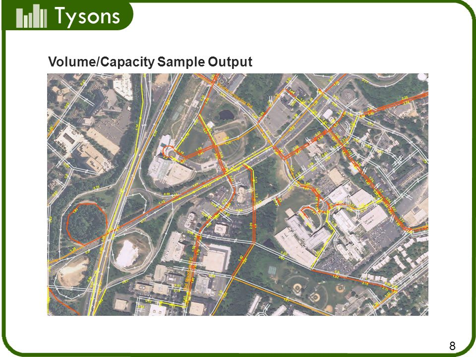 Tysons Measures of Effectiveness (MOE) Level of Service and Delay at Intersections Vehicles Mile Travel Hours of Delay Average Speed Travel Time Queue Length 9