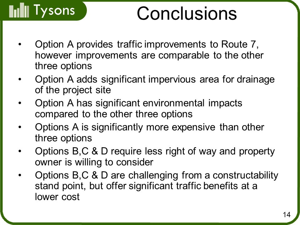 Tysons Option A provides traffic improvements to Route 7, however improvements are comparable to the other three options Option A adds significant impervious area for drainage of the project site Option A has significant environmental impacts compared to the other three options Options A is significantly more expensive than other three options Options B,C & D require less right of way and property owner is willing to consider Options B,C & D are challenging from a constructability stand point, but offer significant traffic benefits at a lower cost Conclusions 14