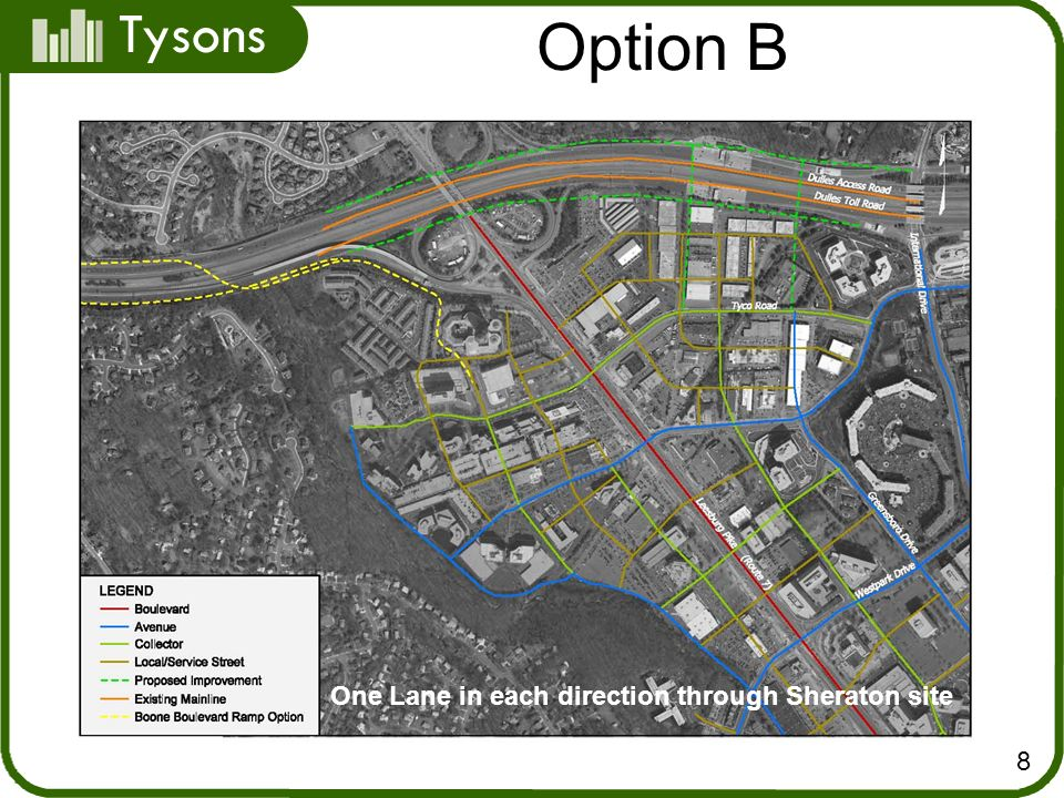 Tysons 8 Option B One Lane in each direction through Sheraton site