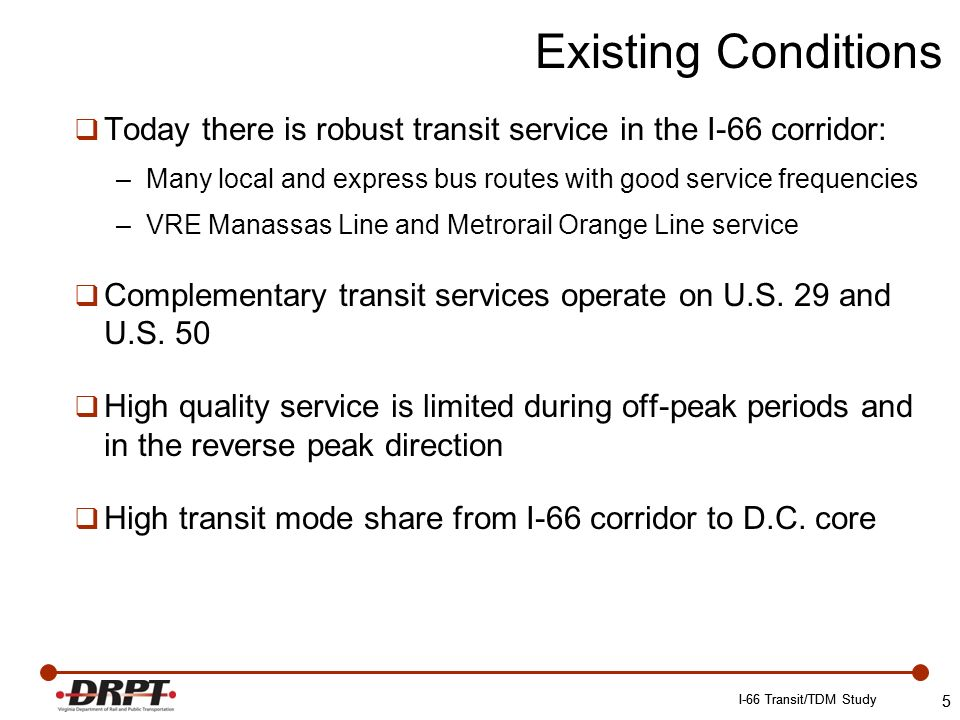 5 Today there is robust transit service in the I-66 corridor: –Many local and express bus routes with good service frequencies –VRE Manassas Line and Metrorail Orange Line service Complementary transit services operate on U.S.