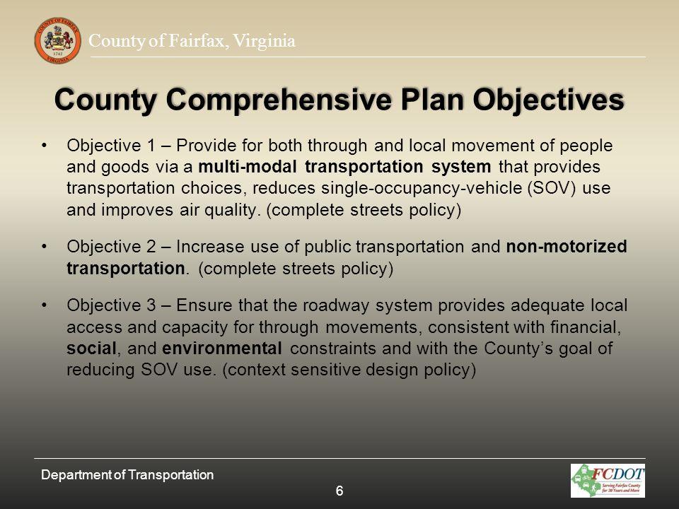 County of Fairfax, Virginia Streetscape Zone Diagram Department of Transportation 47