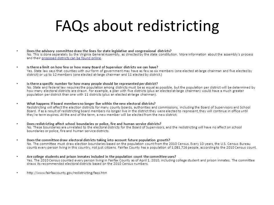 FAQs about redistricting Does the advisory committee draw the lines for state legislative and congressional districts.