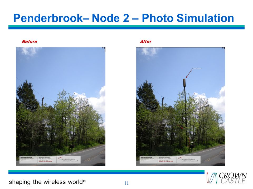 shaping the wireless world SM 11 Penderbrook– Node 2 – Photo Simulation BeforeAfter