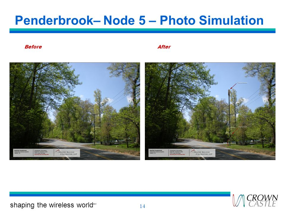 shaping the wireless world SM 14 Penderbrook– Node 5 – Photo Simulation BeforeAfter