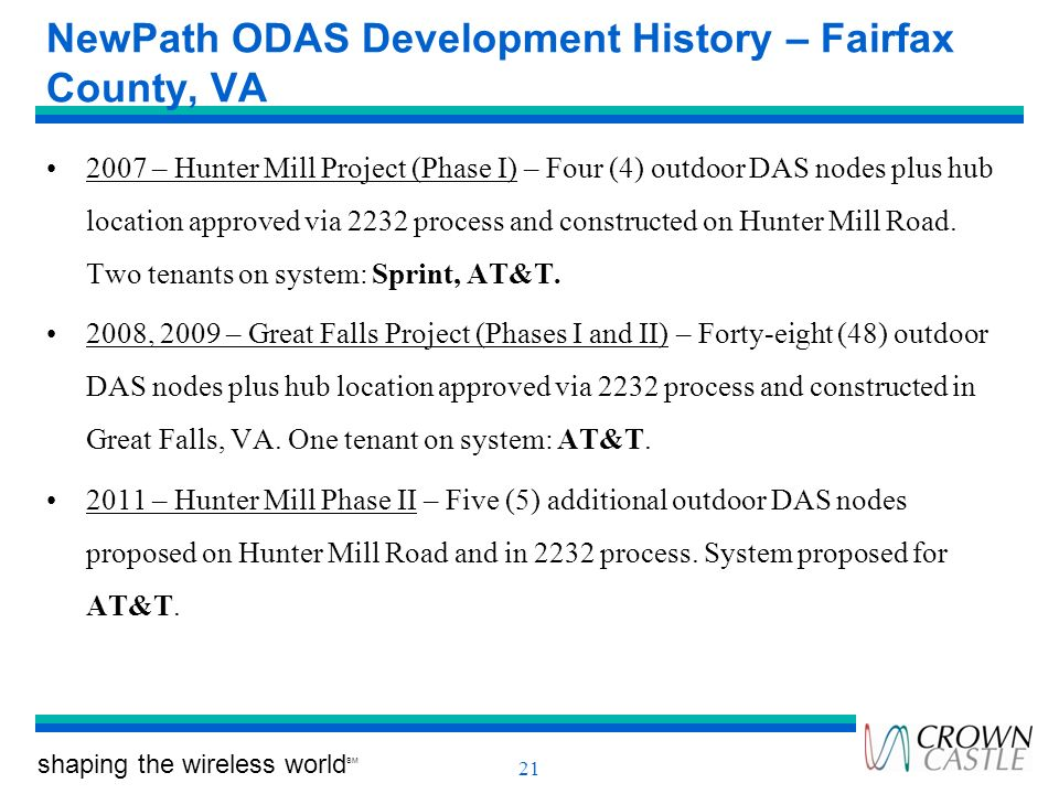 shaping the wireless world SM 21 NewPath ODAS Development History – Fairfax County, VA 2007 – Hunter Mill Project (Phase I) – Four (4) outdoor DAS nod