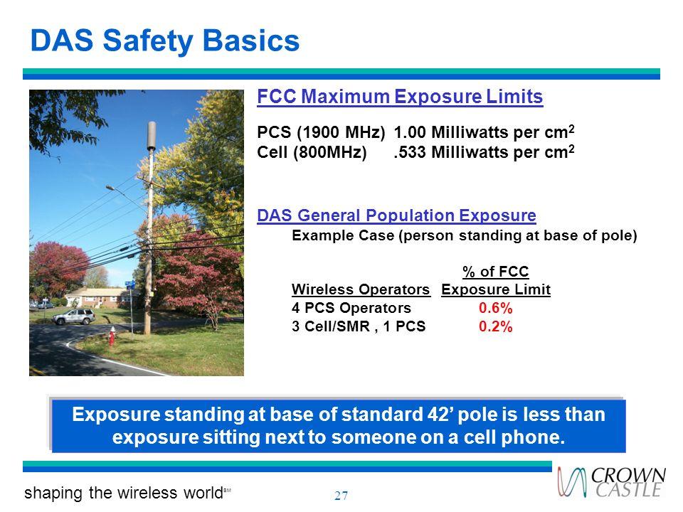 shaping the wireless world SM 27 DAS Safety Basics FCC Maximum Exposure Limits PCS (1900 MHz)1.00 Milliwatts per cm 2 Cell (800MHz).533 Milliwatts per