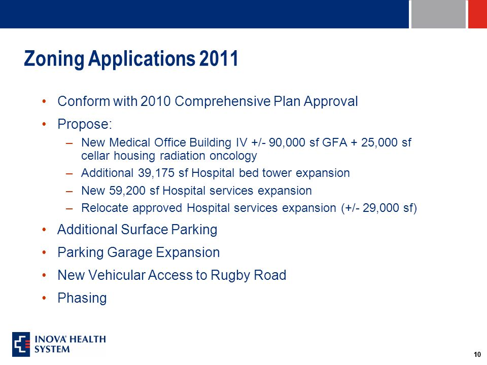 10 Zoning Applications 2011 Conform with 2010 Comprehensive Plan Approval Propose: –New Medical Office Building IV +/- 90,000 sf GFA + 25,000 sf cellar housing radiation oncology –Additional 39,175 sf Hospital bed tower expansion –New 59,200 sf Hospital services expansion –Relocate approved Hospital services expansion (+/- 29,000 sf) Additional Surface Parking Parking Garage Expansion New Vehicular Access to Rugby Road Phasing