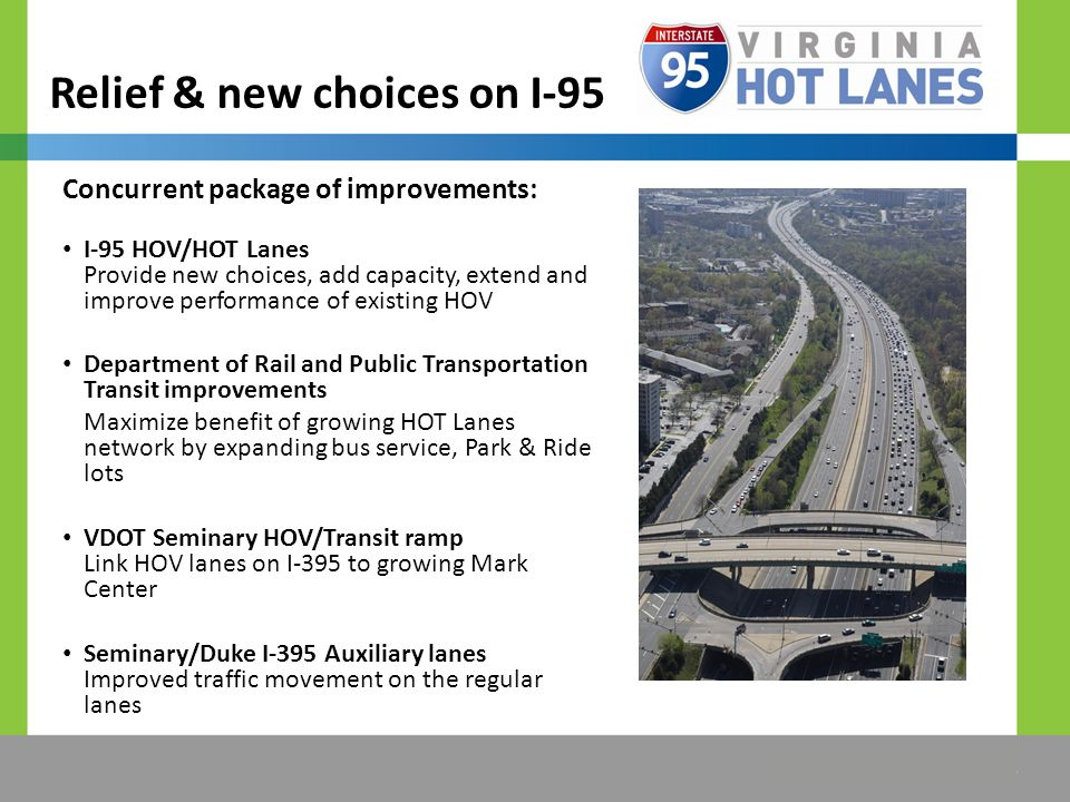 The Title Would be Placed Here Relief & new choices on I-95 Concurrent package of improvements: I-95 HOV/HOT Lanes Provide new choices, add capacity, extend and improve performance of existing HOV Department of Rail and Public Transportation Transit improvements Maximize benefit of growing HOT Lanes network by expanding bus service, Park & Ride lots VDOT Seminary HOV/Transit ramp Link HOV lanes on I-395 to growing Mark Center Seminary/Duke I-395 Auxiliary lanes Improved traffic movement on the regular lanes