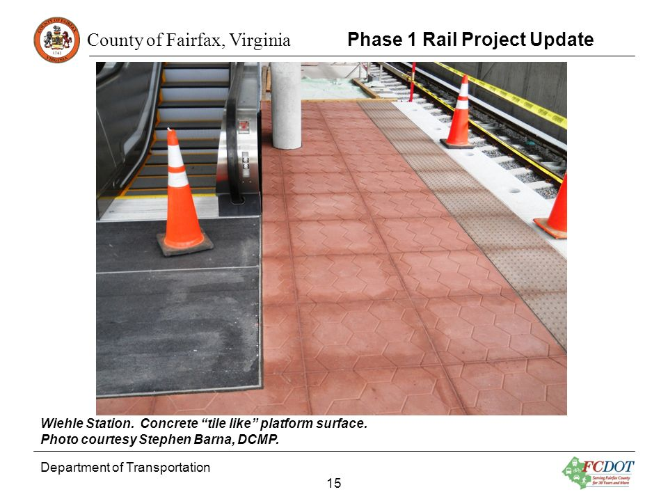 County of Fairfax, Virginia Department of Transportation 15 Phase 1 Rail Project Update Wiehle Station. Concrete tile like platform surface. Photo cou