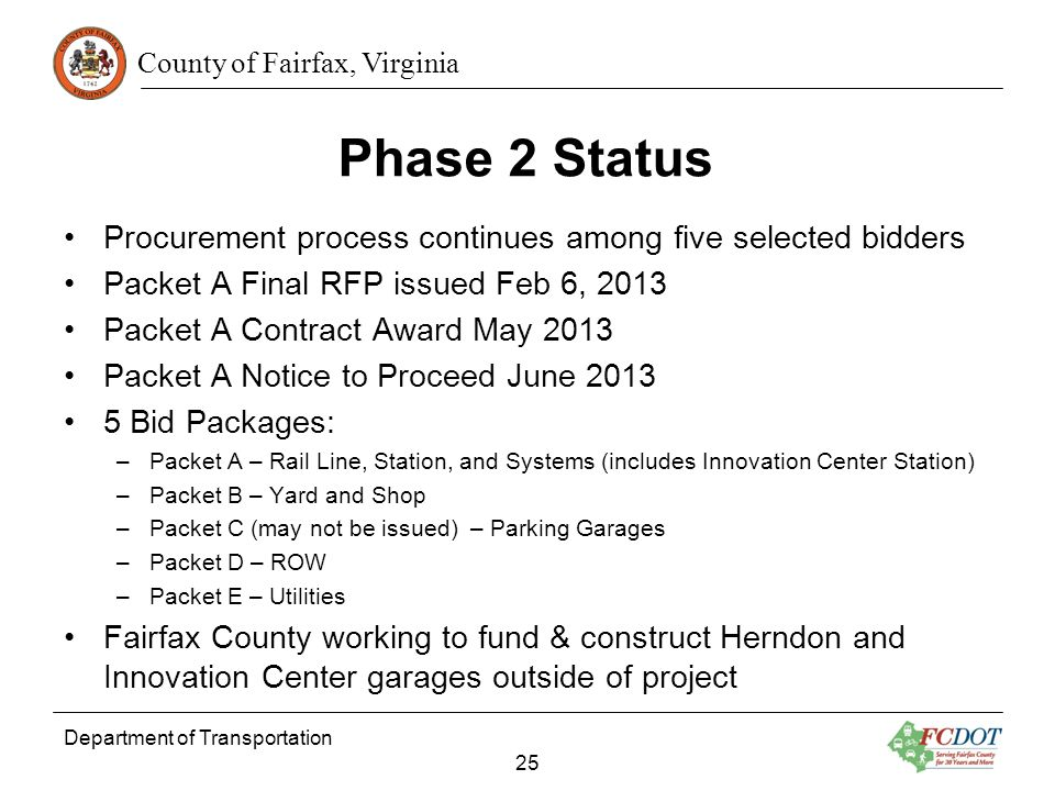 County of Fairfax, Virginia Phase 2 Status Procurement process continues among five selected bidders Packet A Final RFP issued Feb 6, 2013 Packet A Co