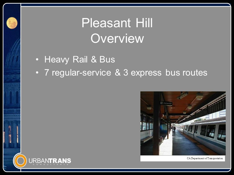 Pleasant Hill Overview Heavy Rail & Bus 7 regular-service & 3 express bus routes CA Department of Transportation